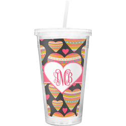 Hearts Double Wall Tumbler with Straw (Personalized)