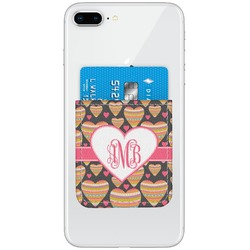 Hearts Genuine Leather Adhesive Phone Wallet (Personalized)