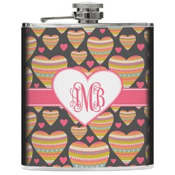 Hearts Genuine Leather Flask (Personalized)