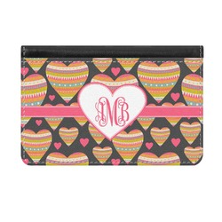 Hearts Genuine Leather ID & Card Wallet - Slim Style (Personalized)