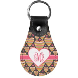 Hearts Genuine Leather  Keychains (Personalized)