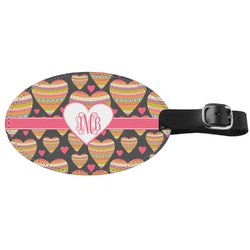 Hearts Genuine Leather Oval Luggage Tag (Personalized)