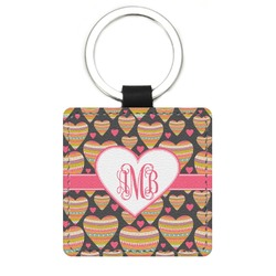 Hearts Genuine Leather Rectangular Keychain (Personalized)