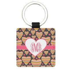 Hearts Genuine Leather Rectangular Keychain (Personalized)