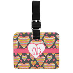 Hearts Genuine Leather Luggage Tag w/ Monogram
