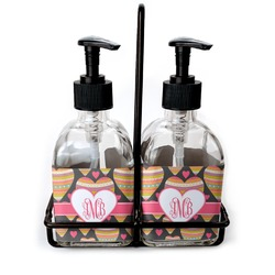 Hearts Soap & Lotion Dispenser Set (Glass) (Personalized)