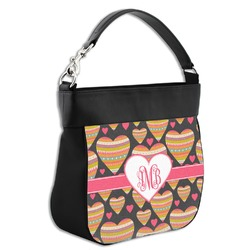 Hearts Hobo Purse w/ Genuine Leather Trim (Personalized)