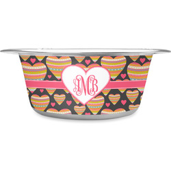 Hearts Stainless Steel Pet Bowl (Personalized)