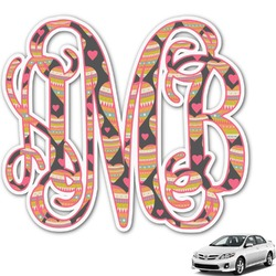 Hearts Monogram Car Decal (Personalized)