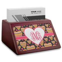 Hearts Red Mahogany Business Card Holder (Personalized)
