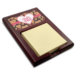 Hearts Red Mahogany Sticky Note Holder (Personalized)