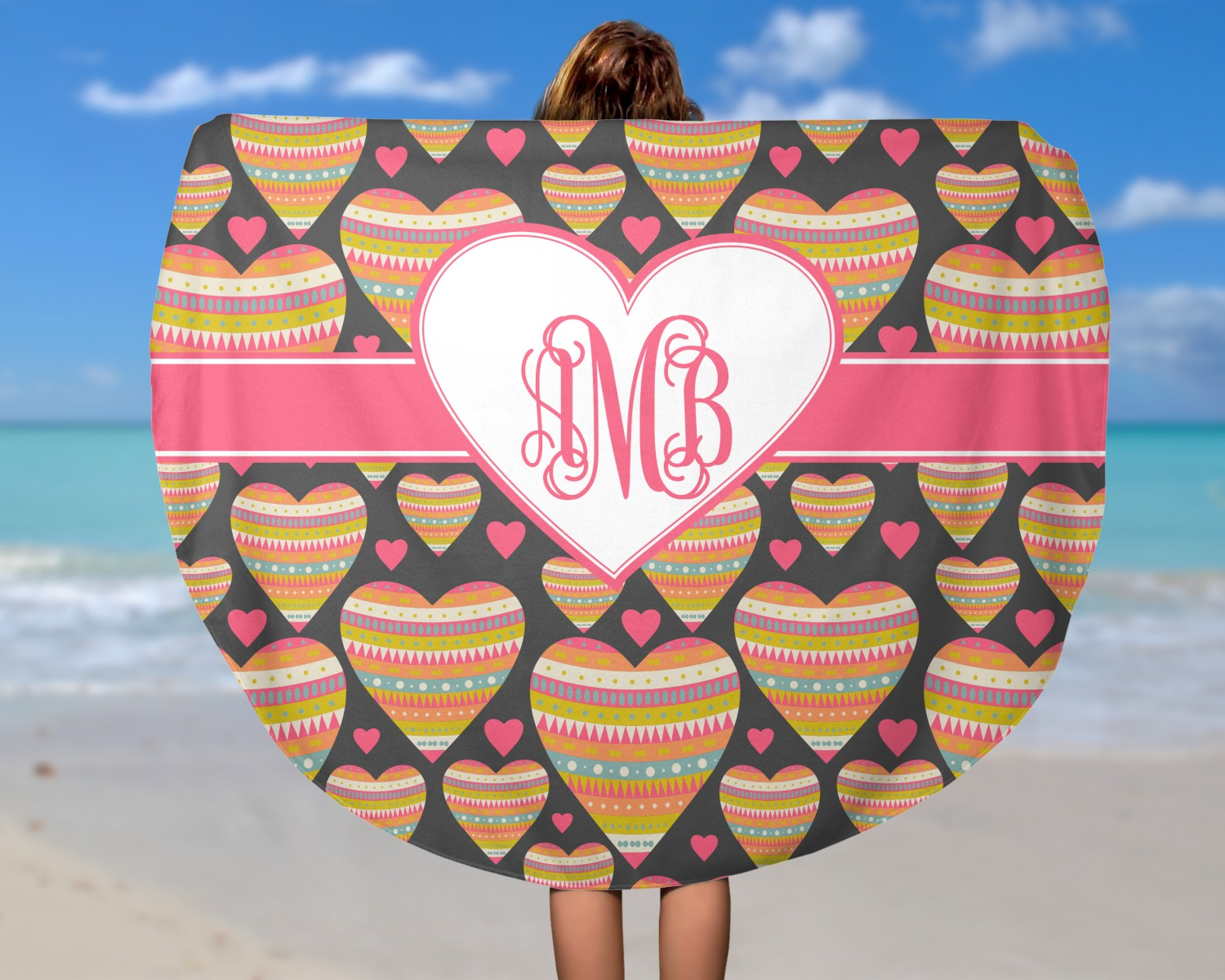 Hearts Round Beach Towel Personalized Youcustomizeit