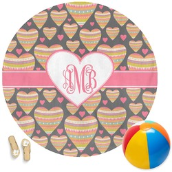 Hearts Round Beach Towel (Personalized)