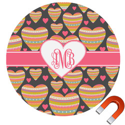 Hearts Round Car Magnet (Personalized)