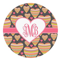 Hearts Round Decal - Custom Size (Personalized)