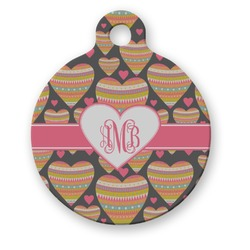 Hearts Round Pet ID Tag (Personalized)