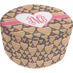 Hearts Round Pouf Ottoman (Personalized)