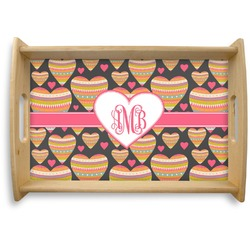 Hearts Natural Wooden Tray (Personalized)