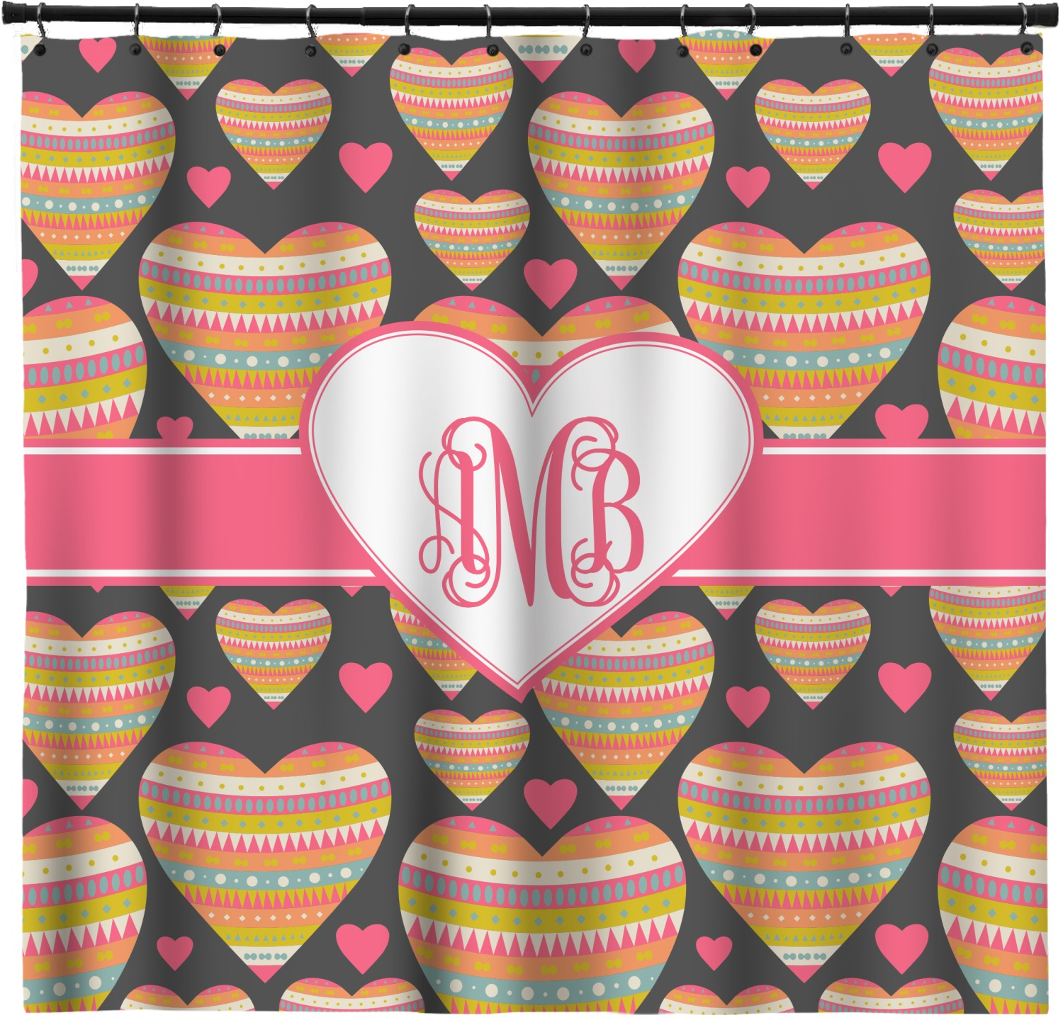 Hearts Shower Curtain Personalized