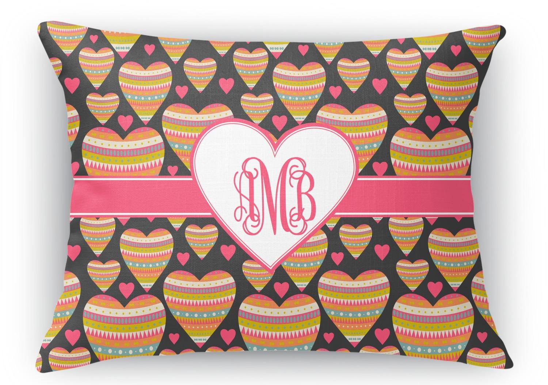Rectangular Throw Pillow Dimensions : Hearts Rectangular Throw Pillow - 18
