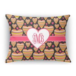 "Hearts Rectangular Throw Pillow Case - 12""x18"" (Personalized)"