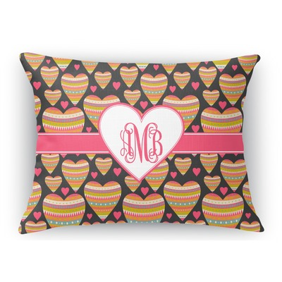 Hearts Rectangular Throw Pillow Case (Personalized)
