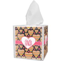 Hearts Tissue Box Cover w/ Monogram