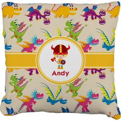 Dragons Faux-Linen Throw Pillow (Personalized)