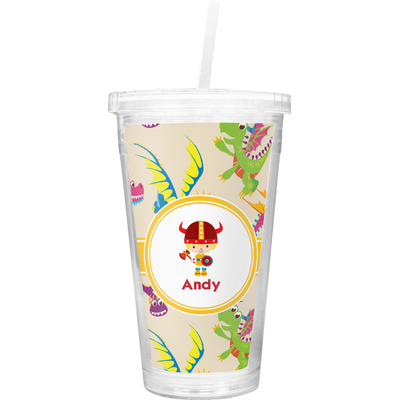Dragons Double Wall Tumbler with Straw (Personalized)