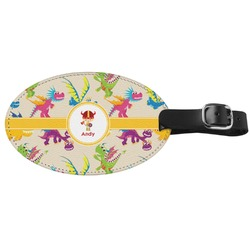 Dragons Genuine Leather Oval Luggage Tag (Personalized)