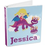 Girl Flying on a Dragon 3-Ring Binder (Personalized)