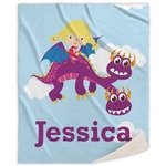 Girl Flying on a Dragon Sherpa Throw Blanket (Personalized)