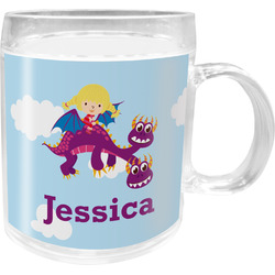 Girl Flying on a Dragon Acrylic Kids Mug (Personalized)