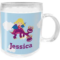 Girl Flying on a Dragon Acrylic Kids Mug (Personalized)