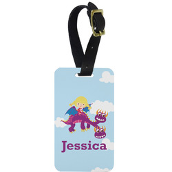 Girl Flying on a Dragon Metal Luggage Tag w/ Name or Text
