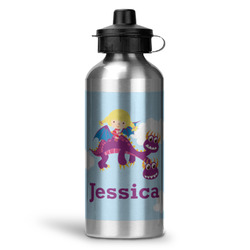 Girl Flying on a Dragon Water Bottle - Aluminum - 20 oz (Personalized)