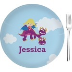 """Girl Flying on a Dragon Glass Appetizer / Dessert Plates 8"""" - Single or Set (Personalized)"""