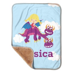 Girl Flying on a Dragon Sherpa Baby Blanket 30
