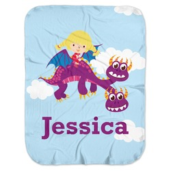 Girl Flying on a Dragon Baby Swaddling Blanket (Personalized)