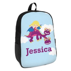 Girl Flying on a Dragon Kids Backpack (Personalized)