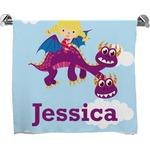 Girl Flying on a Dragon Full Print Bath Towel (Personalized)