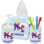 Girl Flying on a Dragon Acrylic Bathroom Accessories Set w/ Name or Text