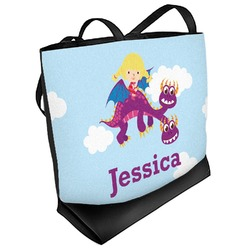 Girl Flying on a Dragon Beach Tote Bag (Personalized)