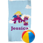 Girl Flying on a Dragon Beach Towel (Personalized)