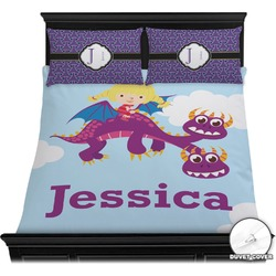 Girl Flying on a Dragon Duvet Cover Set (Personalized)