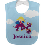 Girl Flying on a Dragon Baby Bib (Personalized)