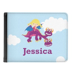 Girl Flying on a Dragon Genuine Leather Men's Bi-fold Wallet (Personalized)