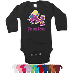 Girl Flying on a Dragon Bodysuit - Black (Personalized)