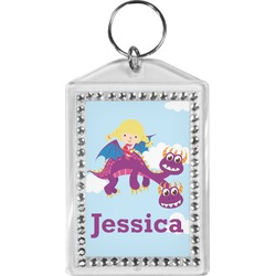 Girl Flying on a Dragon Bling Keychain (Personalized)