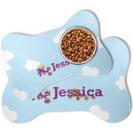 Girl Flying on a Dragon Bone Shaped Dog Food Mat (Personalized)